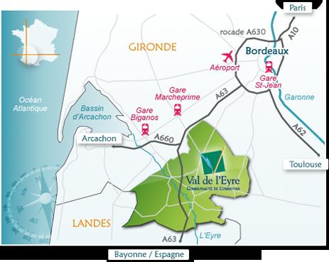 carte Communauté de Communes du Val de l'Eyre